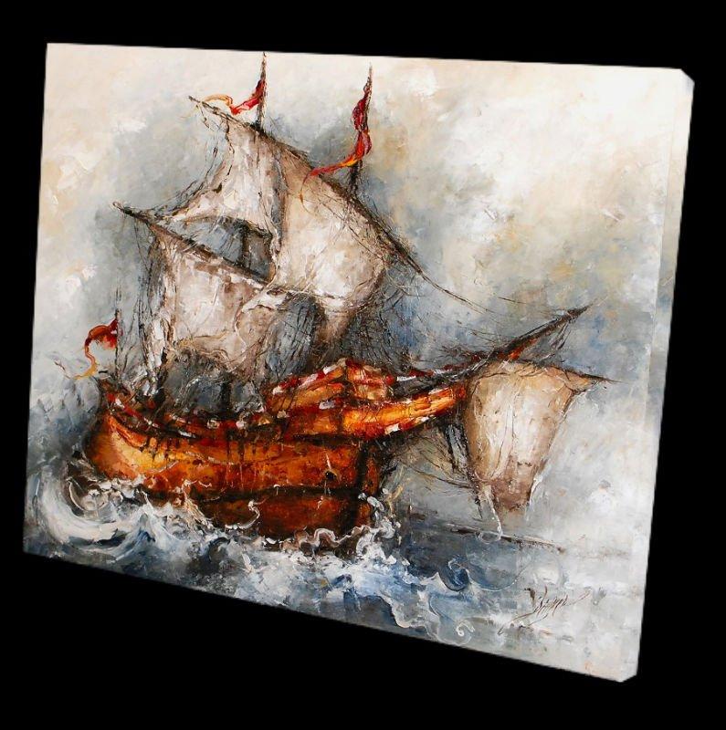 Un bateau peinture l 39 huile de toile peinture et calligraphie id du pr - Peinture a l huile prix ...