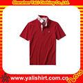 alta qualidade da moda vermelho costela gola manga curta bordado equipado barato mens camisa de seda