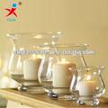 Claro de la boca de vidrio soplado vela florero para la venta/de vidrio sostenedor de vela