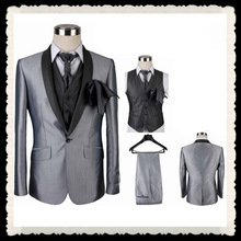 5 pieces wholesale fashion slim fit one button mens wedding suits gray