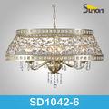 6 luz oval de tambor de metal moderno cristal antigo de luxo moderno lustres de cristal modernos/pendente luz/lâmpada