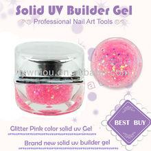 Metallic Glitter Pink Color UV Builder Gel Nail Art Color Gel Set