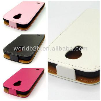 Slim Flip Leather Case & Rubber PC Case Cover for Samsung Galaxy S4 Mini i9190 , with Small magic gumming design