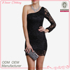 High Fashion One-Shoulder Tight Fitted Shiny Short Dress Sexy Bodycon Mini Dress