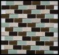 Vert mix Brown cristal mixte travertin pierre, Brique mosaïque carrelage mural KY-ZR2013381