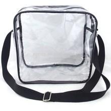 Transparent Clear PVC tote bag with long shoulder strap