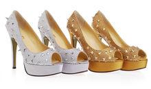 cheap dress shoes online white opened toe heel shoes rivets platform women heels shoes