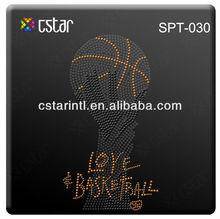 Love Basketball Design Black Orange And Grey Rhinestone Hot Fix Motif