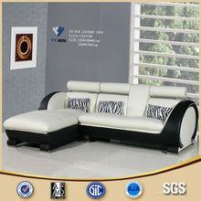 Modern Black and White Wheel Shape Leather Corner Sofa Design
