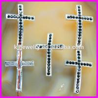 KJL-BR812 Silver Rhinestone Cross Bracelet Connector Hammered Sideways rhinestone Cross