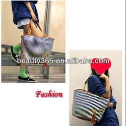 2013 fashion women Stripe Casual Tote Canvas Shoulder Bag