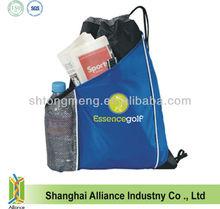 High Quality Custom Logo Drawstring Pack with Mesh Bottle pocket
