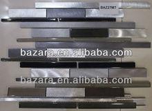 2013 Hot sell Sliver Polished or Lars Stainless steel Black Crystal Glass Mosaic tile