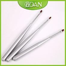 BQAN Silver Wooden Handle UV Gel Set Nylon Nail Art Flat Brush