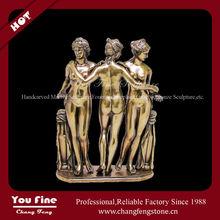 Greek Metal Bronze Three Graces Statue