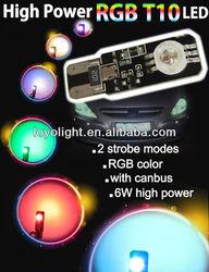 New design canbus 6W high power RGB T10 led strobe light led light car
