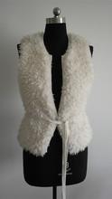 fashion ladies white vest with belt