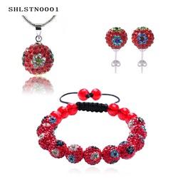 China Factory Direct Great Sale Beautiful Flower Shamballa Bracelet & Pendant & Stud Earring Wholesale SHLSTNmix1