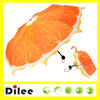 New 3 fold orange mini photo fruit fancy printed umbrella