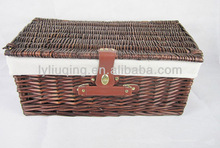 rectangle willow storage basket with lid and handle