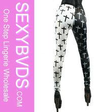 Special Design Black&White Crosses Print Custom Leggings, Cheap Printed Leggings FG033