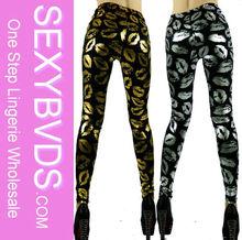 NEW DESIGN GOLDEN&SILVER LIPS CUSTOM PRINTED LEGGINGS, WOMEN IN LEGGINGS PICS FG0111