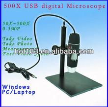 CE FCC RoHS 50x-500X USB digital microscope 0.3Mega Pixels measurable with liftable stand
