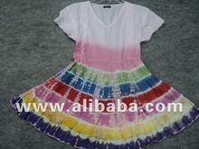 Cute, colorful cotton tie dye dress / knitted tie-dye girl dress 100% cotton frock