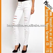 Online prezzo del tessuto denim in cina distrutto jeans denim per le donne( hyw1186)