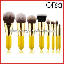 8 pcs synthetic hair yellow handle makeup brush
