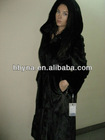 MK13021 natural black hooded mink fur coat
