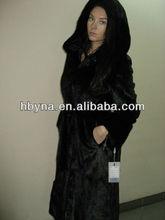MK13021 natural black hooded mink fur coat