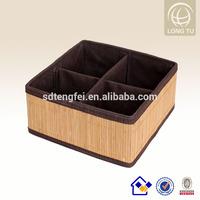 Envirement Friendly Natural Bamboo Weaving Basket With Dot Lining
