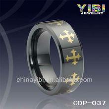 Anello di ceramica band celtic, placcato in oro anello celtico, fabbrica diretta anello nero di ceramica