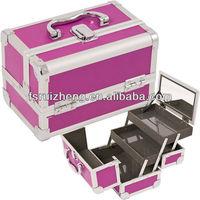 Professional purple makeup case plastic cosmetic organizer with mirror RZ-C051