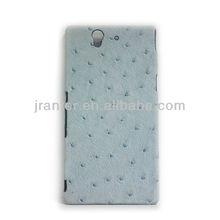 Genuine Leather Case Ostrich Skin for Sony Ericsson Case Luxury Leather Case for Sony L36h (Xperia Z)