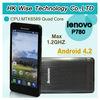 Hongkong Post Air Mail Freeshipping Android Lenovo P780 MTK6589 Quad Core 1.2GHz Android 4.2 4000mAh Smart phone
