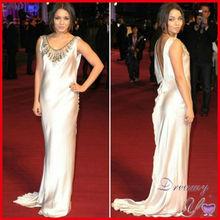 Vanessa Hudgens Beaded Elastic Satin Open Low Back Red Carpet Dresses