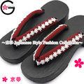 Fu-ka nouveau style kimono yukata japonais chirimen dentelle chaussures élégant vin rouge blanc dentelle geta sandale.