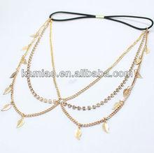 fashion accessory rhinestone metal charms kknekki hair elastic band