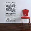 Dernières vinyle maison règles wall sticker citations YW1073