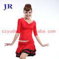 Rojo vestido de baile latino 2015 nueva moda latina las mujeres vestido de baile de l- 7015#