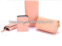 ladies leather case value pink purse four combinations