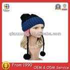 cute crochet beanie hat with braid custom fashion girl cute beanie hat with earflaps pattern