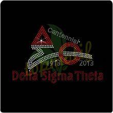 Colorful Delta Sigma Theta 100 Years Wholesale Rhinestone Transfer custom designs for T-shirt