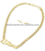 Urban Glam Short Bold Metal Word Diva pendant Necklace Earrings Set