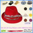 LSF56 Ningbo Lingshang Elegant Diamond Decorative Red Fabric Fedora Custom Print Bucket Hat