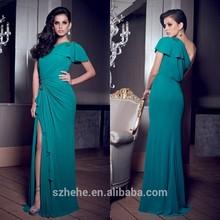 Cy044 Shealth une épaule sélectionné à la main perles en mousseline de soie robe de soirée mode 2013