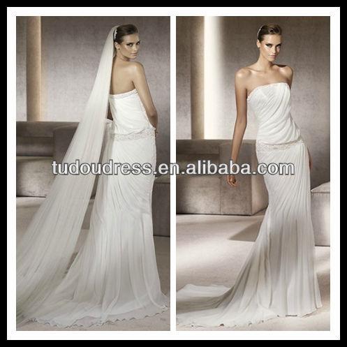 SW00096New Fasion Elegant Chiffon Strapless Sheath Brush Sweep Wedding Dress