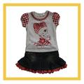 100% algodão bebê menina denim sets vestido